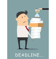 Deadline concept businessman carrying eports vector image