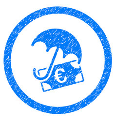 Euro financial umbrella rounded icon rubber stamp vector