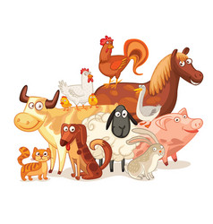 farm animals posing together vector image