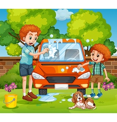 Father and son washing car in the backyard vector