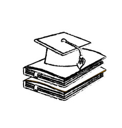 figure graduation cap with education notebooks vector image vector image