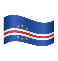 Flag of cape verde waving on white background vector