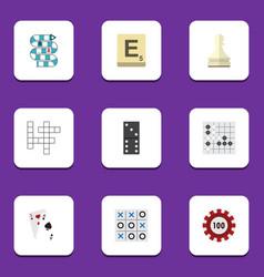 Flat icon entertainment set of bones game mahjong vector