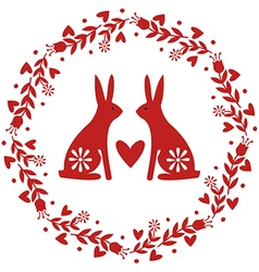 Floral Wreath with Flowers Hearts and Rabbits vector image