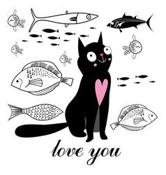 graphics funny cat and fish on a white background vector image vector image