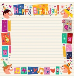 Happy birthday kids decorative border vector