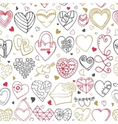 Hearts hand drawing doodlesseamless pattern vector