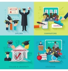 Higher education flat set vector
