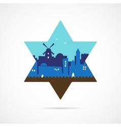 Jerusalem Israel skyline silhouette flat design vector image vector image