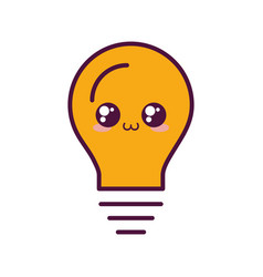 Kawaii light bulb icon vector