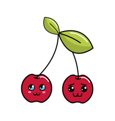 Kawaii shy and distracted cherry fruit icon vector