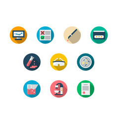 Laboratory round color icons set vector