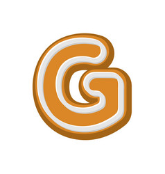 Letter g gingerbread peppermint honey-cake font vector