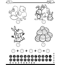 Maths activity game coloring page vector