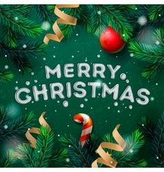 Merry Christmas greeting card with fir twigs vector image vector image