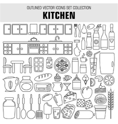 Outline set cooking and food icons vector image