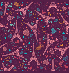 pink eifel tower paris seamless repeat vector image vector image