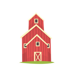 Red barn wooden agricultural building cartoon vector