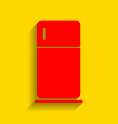 refrigerator sign red icon vector image