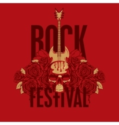 roses and the words Rock festival vector image