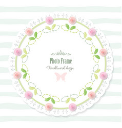 Round doily frame decorated with roses vector