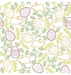 Seamless pattern with Easter bunny eggs and vector image