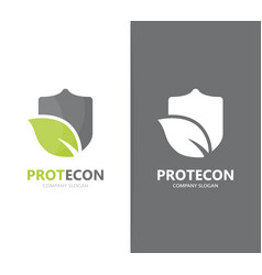 Shield and leaf logo combination vector