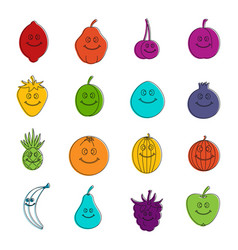 smiling fruit icons doodle set vector image