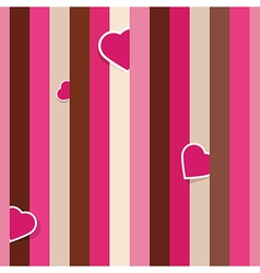 Striped pink seamless background pattern with hear vector image