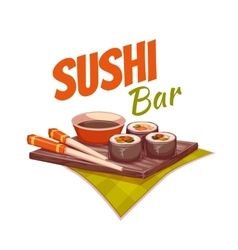 Sushi with sauce and chopstick on plate vector image