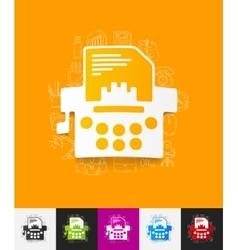 typewriter paper sticker with hand drawn elements vector image