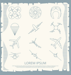 Vintage aviation thin line icons collection vector