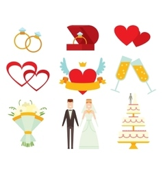 Wedding couple and icons cartoon style vector image vector image
