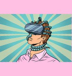 Young man in a virtual reality gadget parasite vector