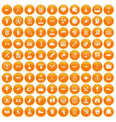 100 victory icons set orange vector