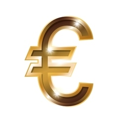 Silhouette with currency symbol of euro in golden vector