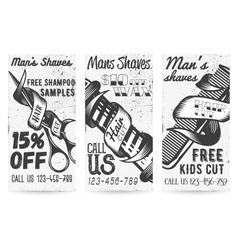 Set of vintage templates for barber shops vector