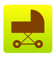 Pram sign   brown icon at vector