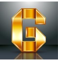 Letter metal gold ribbon - G vector image