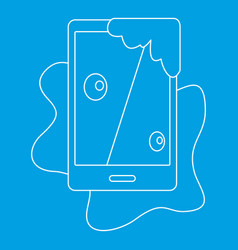 Wet phone icon outline style vector