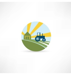 Tractor on a farm vector