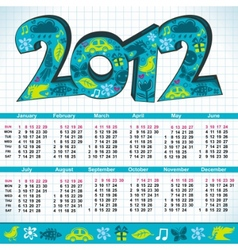 2012 new year calendar vector image vector image