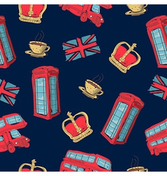 Colorful seamless pattern of hand-drawn london vector