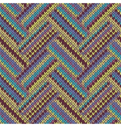 Seamless knitted pattern multicolored template vector
