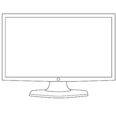 Computer monitor outline vector