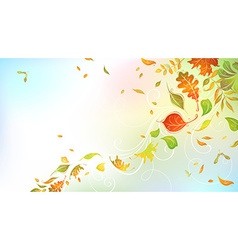 Falling autumn leaves on bright background vector
