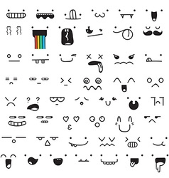 Set of 50 different pieces doddle emotions to vector