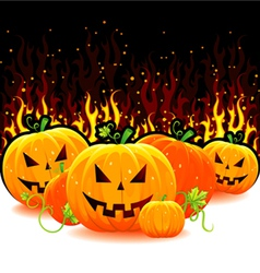 Red fire with pumpkins vector