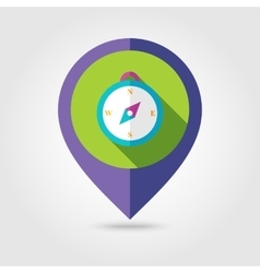 Compass flat mapping pin icon with long shadow vector