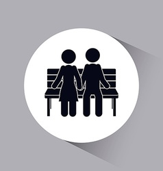 chair couple sitting on park vector image